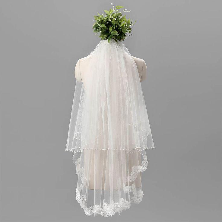 재고 2016 1 운율 로맨틱 저렴한 신부 베일 세 레이어 웨딩 베일 레이스 가장자리 흰색 베일 신부