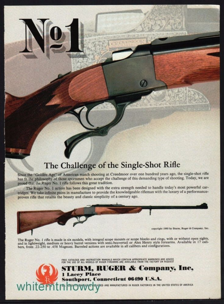 1982 RUGER No. 1 Single-Shot Rifle Ad copyright '80 appeared in '82 #Ruger