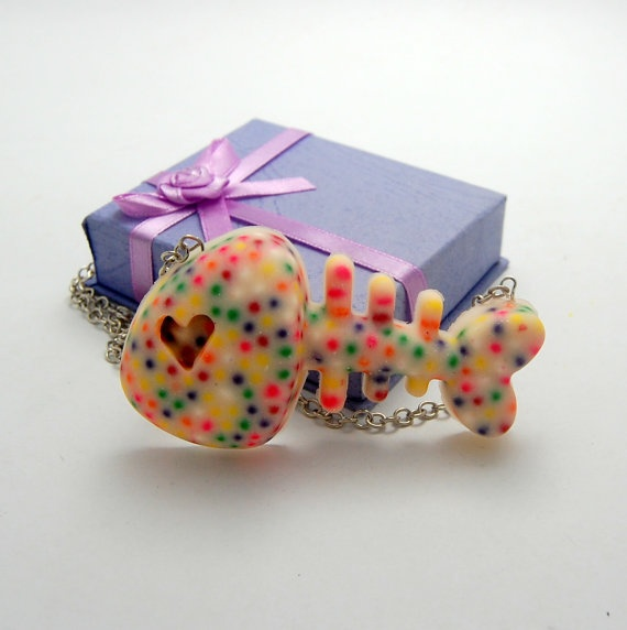 White Giant Rainbow Sprinkle Fishbone Resin by CalliopeKitten, $25.00