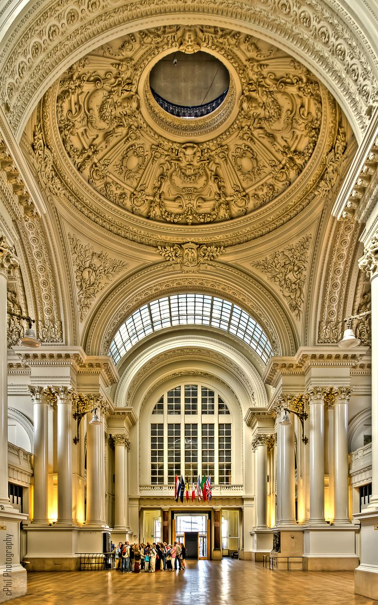 The entrance hall of the Brussels' Bourse, Stock Exchange. After Bruges and Antwerp, Brussels had the third Stock Exchange in the world.