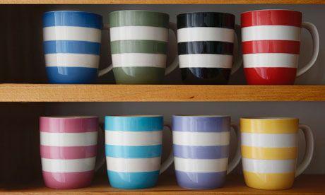 Coloured Cornish ware.