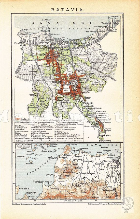 1905 Java Batavia in the 19th Century present by Maptimistic, $11.90