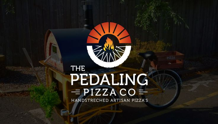 Forming the wheel half in the shape of pizza slices and half in the original tyre makes it a clever logo for 'The Pedaling Pizza Co'. A flame under the pizza links to their freshly baked products. Colorful theme and the use of stylish font add more value to the brand. It is basically a nice presentation of pizza on the go. To see more of these, please visit http://fullstop360.com/blog/clever-logos-with-meaning/