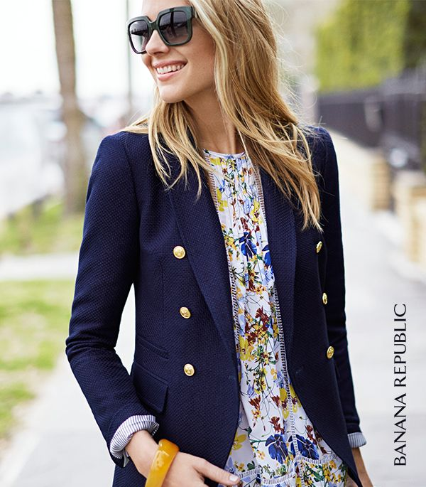 There's a new way to think about polished dressing in the summer. Pair a classic nautical navy blazer with feminine eyelet shorts and a breezy floral blouse. Amy Jackson goes from the boardroom to the boardwalk with gorgeous summer ease in Banana Republic.