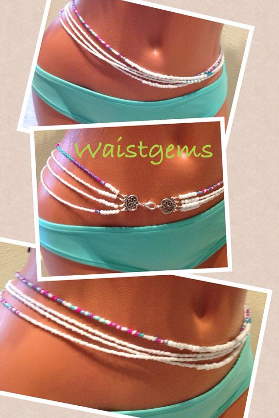 Pastel Lady quadruple strand waist beads. by WaistedGems on Etsy