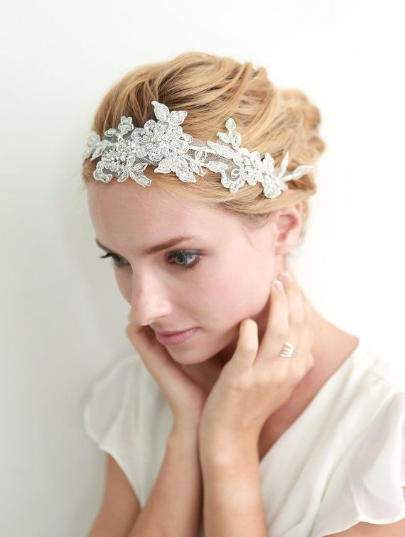 Lace headband bridal headband floral headband wedding door woomipyo, $50.00