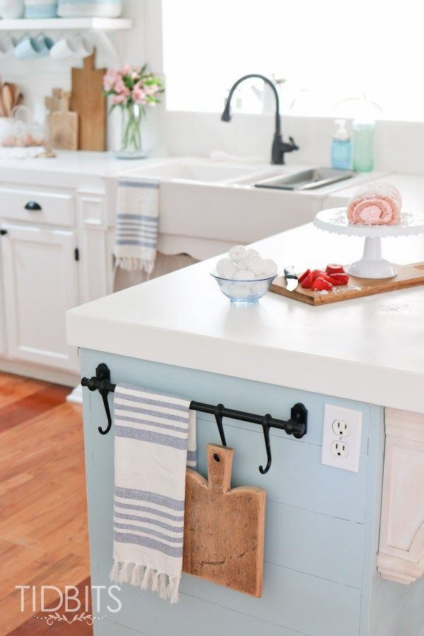 simple touches of spring in the kitchen - Kitchen Towel Rack Ideas