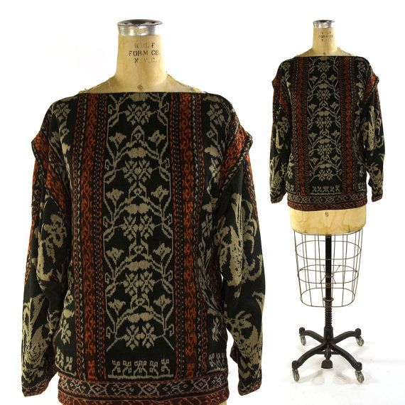 Ikat Cotton Shirt / Vintage 1980s Gypsy Art to Wear Top with Batwing Sleeves $62.00