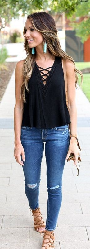 #spring #outfits Black Laced Up Tank + Ripped Skinny Jeans