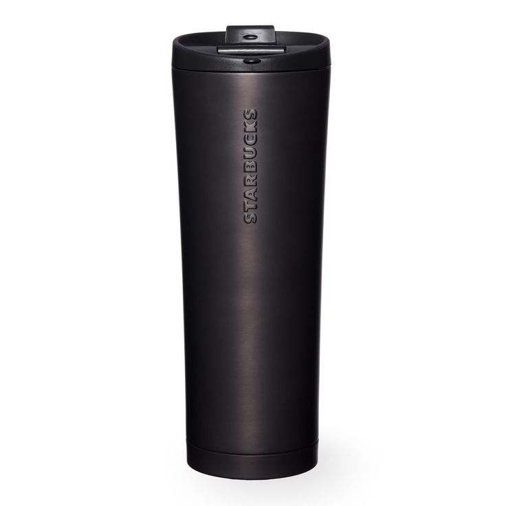 A double-walled, stainless steel coffee tumbler with a soft hand feel and matte black finish.