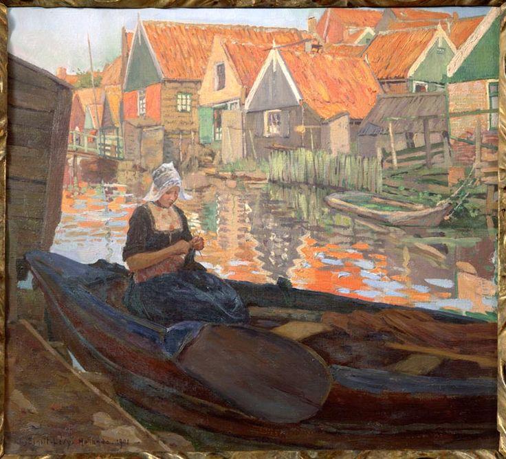 Het breistertje 1901 Benoit-Levy, Jules (1866-na 1925); Samen met andere Franse kunstenaars, zoals Augustin Hanicotte, trok hij aan het eind van de 19de eeuw naar Volendam. Op dit schilderij is een Volendammer meisje zittend in een fuikenboot afgebeeld. Zij is bezig met een breiwerkje. Op de achtergrond zijn woningen te zien van waarschijnlijk het Noordeinde te Volendam. Het schilderij is prachtig gecomponeerd met een grandioze overgang tussen schaduw en zonlicht.  #NoordHolland #Volendam