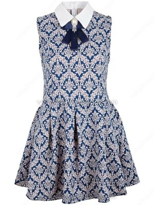 Blue Sleeveless Baroque Floral Pleated Dress
