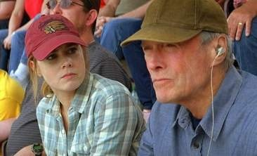 """Clint Eastwood produces himself (directed by a protege) as a graying baseball scout who's on the outs with his daughter (""""Princess Giselle""""). Ebert gives it thumbs up. Rated PG-13 for, among other things, smoking (as it's set in baseball, I'm surprised ballpark franks, beer and soda served in 32-ounce cups aren't red flagged)."""
