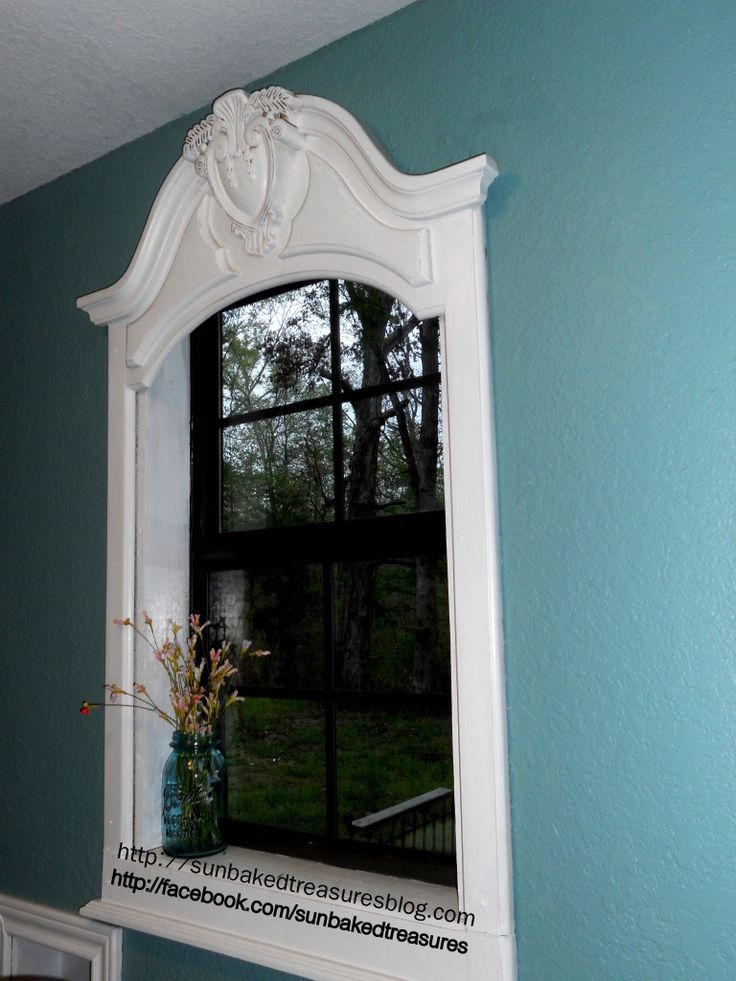 repurposed dresser mirror frame into window frame