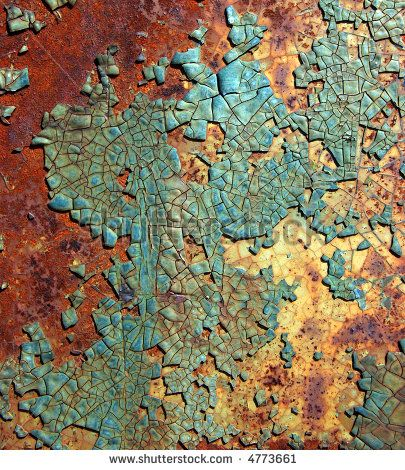 Rusted steel plate with cracked and peeling turquoise paint