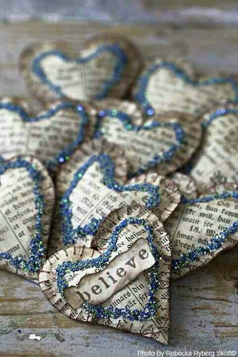 Paper hearts made from old books