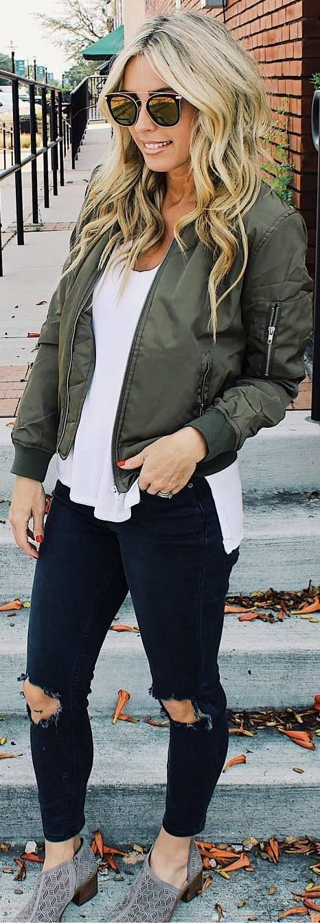 #fall #outfits green bomber jacket ripped jeans