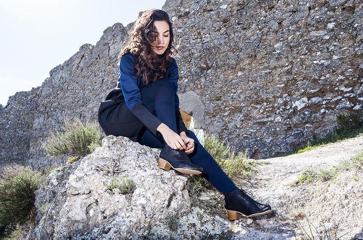 lookbook invierno 2016 - RAY MUSGO Zapatos ecologicos de mujer #nature #boots #botas #laces #cordones #girl #model #natural