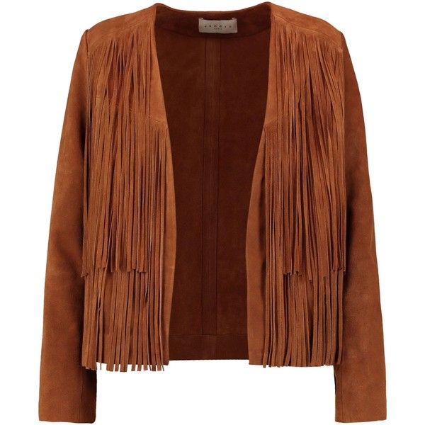 SANDRO  Victor fringed suede jacket (20.495 RUB) ❤ liked on Polyvore featuring outerwear, jackets, sandro, suede leather jacket, brown fringe jacket, open front jacket and brown suede jacket