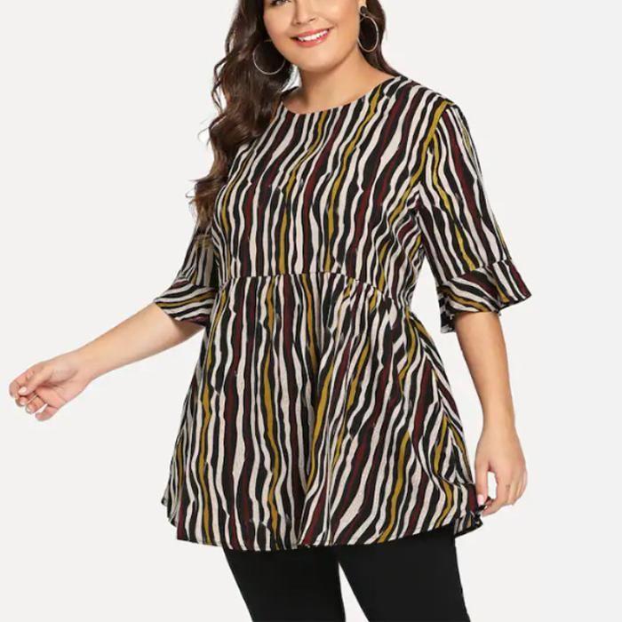 Plus-Size Fashion Stripe Backless Shirt
