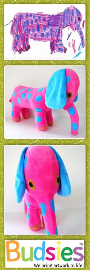 Have your kids draw something cute and then bring it to life with budsies.com. #cute