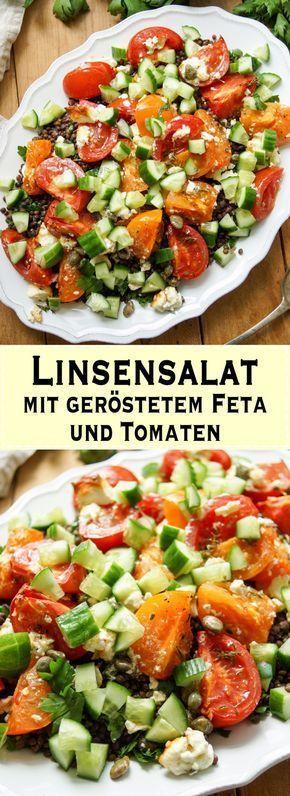 Linsensalat mit geröstetem Feta und Tomaten