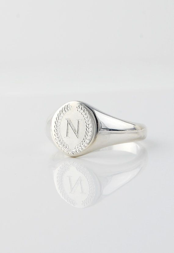 Monogrammed Signet ring - Personalized engraved Solid Sterling Silver signature statement ring - US sizes 4 5 6 7 8 9 Mother's day gift