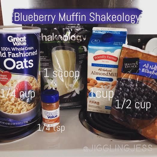 Blueberry Muffin Shakeology Recipe:  1c dry oats 1 scoop Vanilla Shakeo 1c unsweetened almond milk 1/2c blueberries (frozen or fresh) 1/4 tsp cinnamon  Mix!!  Yummmmmmm