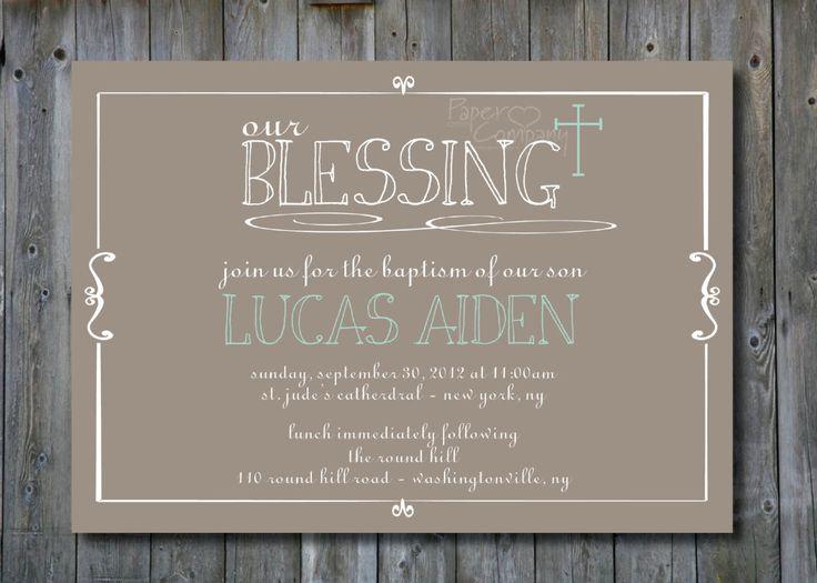 OUR BLESSING Custom Baptism Invitation/Christening Invitation/Communion Invitation- You Print. $15.00, via Etsy.