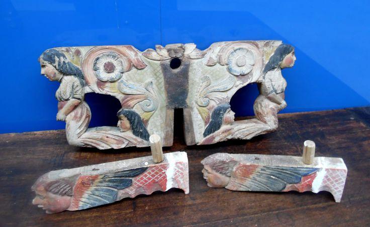 Elementi di carretto siciliano fine '800 dipinti d'epoca