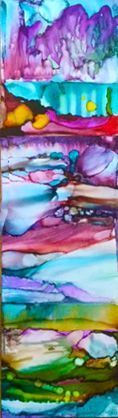 """FOR SALE """"Inspirations"""" $150 5X20 alcohol ink on whiteboard"""