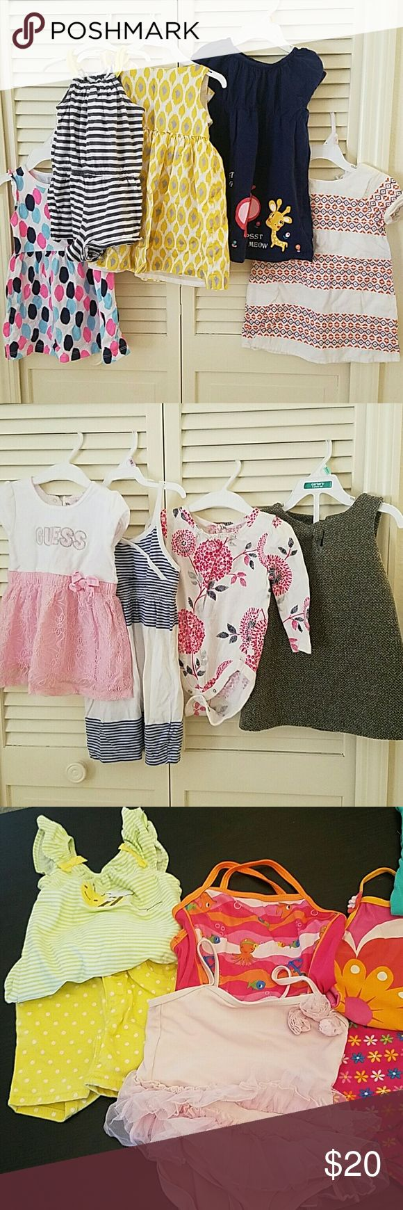 BUNDLE OF 12-24 MONTHS GIRLS' CLOTHES Baby girls' clothes in great condition. 10 dresses (one has stain as pictured), 1 romper, 3 tops, 1 pair of shorts, 5 swimsuits, 11 bodysuits (two has a stains as pictured). Mixed brands such as Carter's, Zara babyGap, and Guess. babyGap Dresses