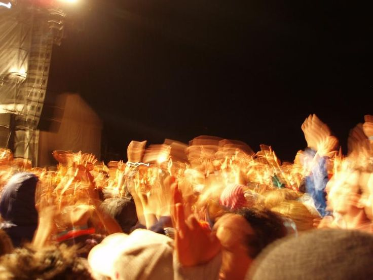an enthusiastic crowd of music lovers at a live performance - free stock photo from www.freeimages.co.uk