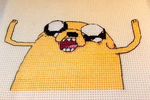 Вышито по собственноразработанной схеме :)  Джейк из Время приключений Вышивка embroidery