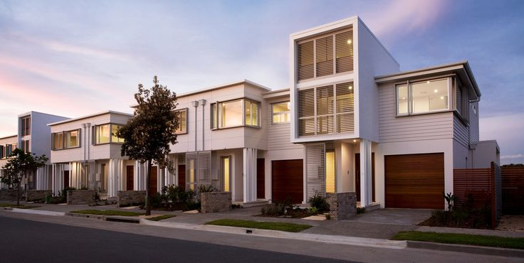 Modern terraces featuring #Scyon™ #Linea™ #weatherboard creates beautiful streetscape diversity and curb appeal #modern #home #architecture #design #exterior