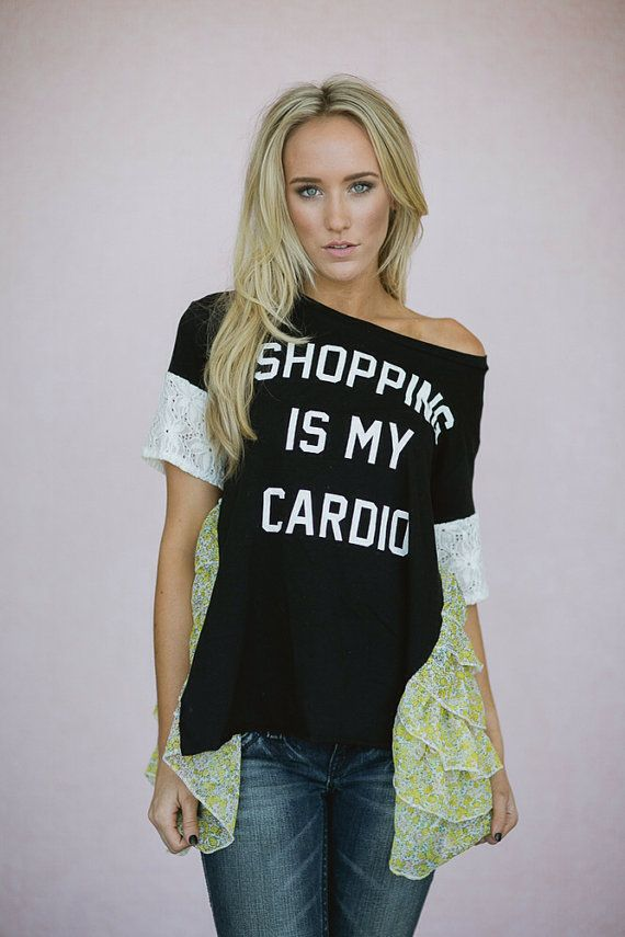 Shopping is my Cardio Shirt with Lace Sleeves and Vintage fabric Ruffled Sides T-Shirt