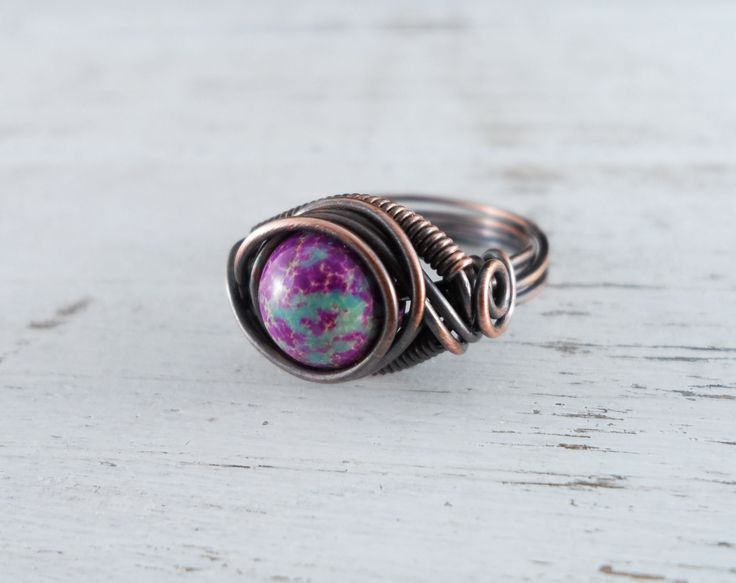Wire Wrapped Ring Purple and Turquoise Jasper Ring Copper Ring Dragons Eye Ring Wire Wrapped Jewelry Copper Jewelry by PolymerPlayin on Etsy