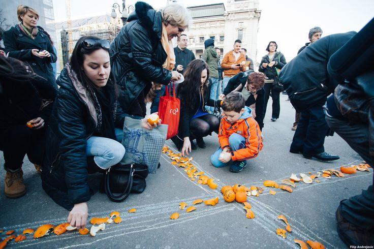 https://flic.kr/p/r8AatA | Belgrade, Serbia | Creation of Fossil Free symbol — orange as a symbol of health, round as the Planet, orange as the danger without @GoFossilFree...the tree that would grow in Serbia if the climate changes form continental to tropic. #GlobalDivestmentDay   Photo: Filip Andrejevic