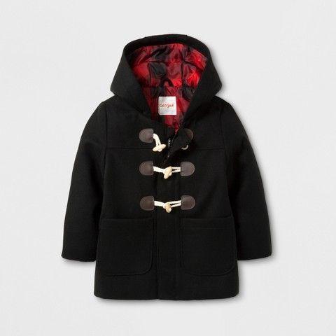 Cat & Jack Toddler Boys' Faux Wool Overcoat Jacket - Cat & Jack Black