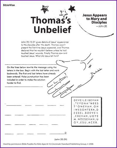 Thomas 39 Unbelief Kids Korner