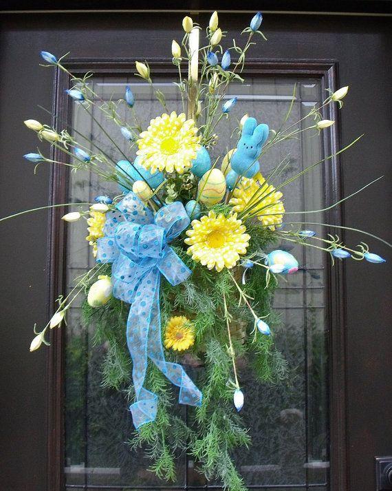 Easter Wreath Spring Wreath Easter Wall Basket Floral Arrangement Yellow Blue Peep Door Wreaths Flower Arrangement