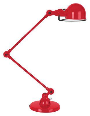 Tischleuchte Signal / mit 2 Gelenkarmen - H max. 60 cm, Rot-glänzend von Jieldé finden Sie bei Made In Design, Ihrem Online Shop für Designermöbel, Leuchten und Dekoration.