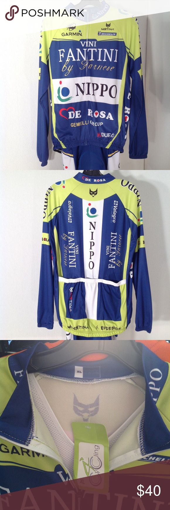 Vini Fantini cycling outfit by Farnese This 2-piece outfit is in excellent pre-owned condition with no staining or damage. Pants and tank top are one piece with adjoining jersey. Vini Fantini by Farnese Other