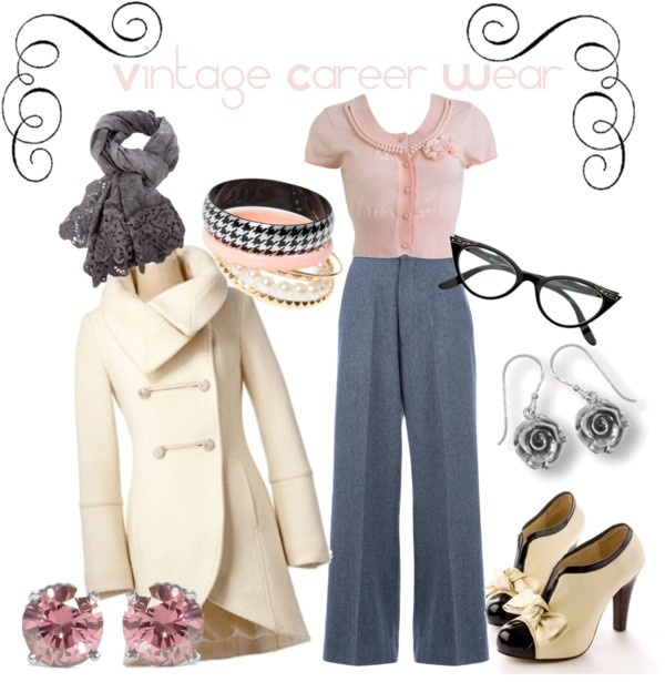 """""""outfit inspiration - vintage career wear"""" by onceuponanovel on Polyvore"""