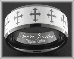 Black Tungsten Ring Engraved with Religious Crosses.  Free Inside Engraving! Sizes: 5, 5.5, 6, 6.5, 7, 7.5, 8, 8.5, 9, 9.5, 10, 10.5, 11, 11.5, 12, 12.5, 13, 13.5, 14, 14.5, 15 sunsetjewelers.com
