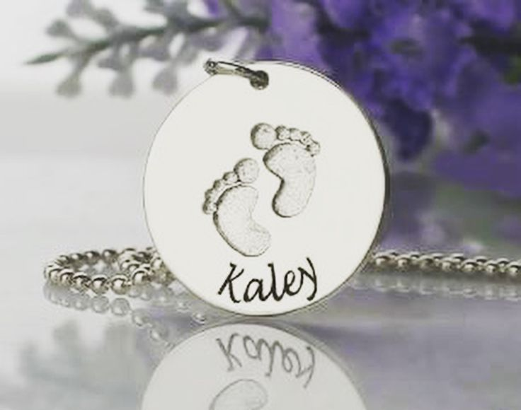 Baby Footprints Name Necklace sterling silver