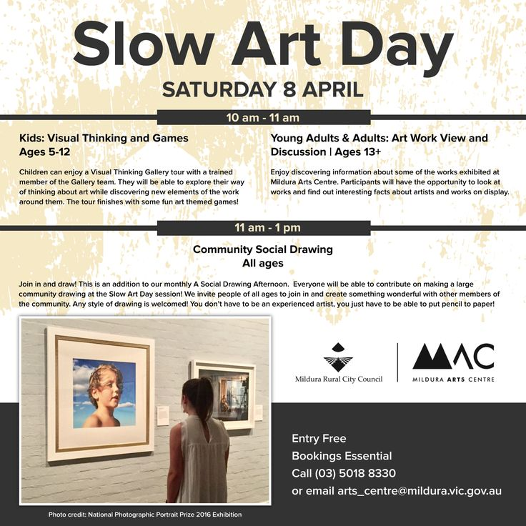 Slow Art Day Mildura Arts Centre this coming Saturday. Activities for all ages :)