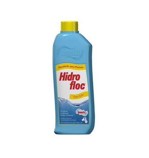 Clarificante Tripla Ação 1l. Hidrofloc Hidroall Tripla Ação aglutina as partículas microscópicas em suspensão na água
