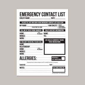 Emergency Contact Form For Nanny, Babysitter Or Daycare: Printable Pdf Sheet  Another Word For Babysitter