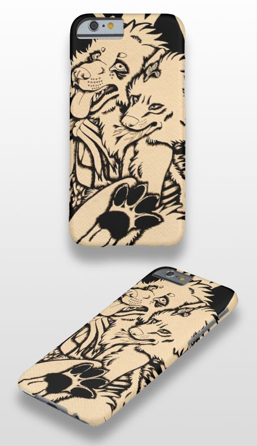 """""""Two Single Hearts on Fire"""" Illustrated wolf couple iPhone 6 Case #wolf_art #wolf_illustration #wolf_products"""